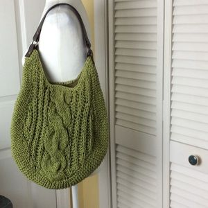 Old Navy cable knit boho bag with brown strap